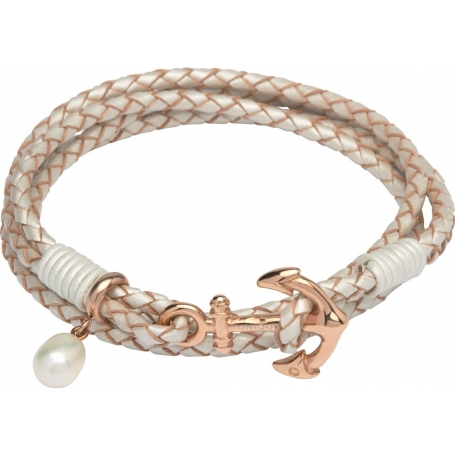 UNIQUE Pearl color leather bracelet with rose gold plated steel