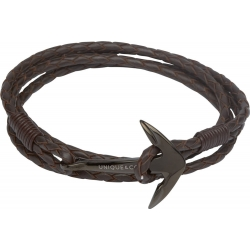 UNIQUE Dark brown leather bracelet with steel