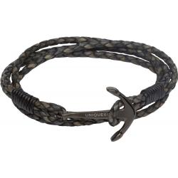 UNIQUE Antique black leather bracelet with steel