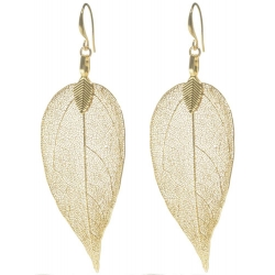 BLUMENKIND Stainless Steel Yellow Gold Plated Earings Leaf