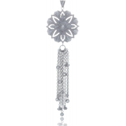 Pendant dreamcatcher with tassel in silver