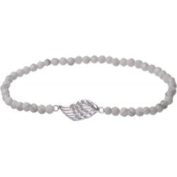 Angelsvoice Bracelet Aile d'ange en argent avec pierres naturelles