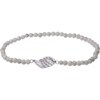 Angelsvoice Angel wings bracelet in silver with natural stones
