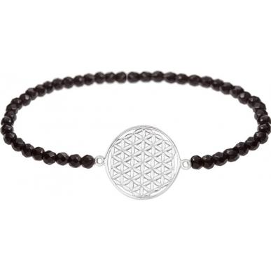 Angelsvoice Armband Blume des Lebens in Silber mit Natursteinen