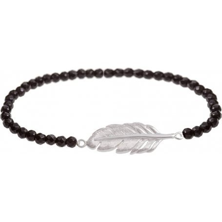 Angelsvoice Feather bracelet in silver with natural stones