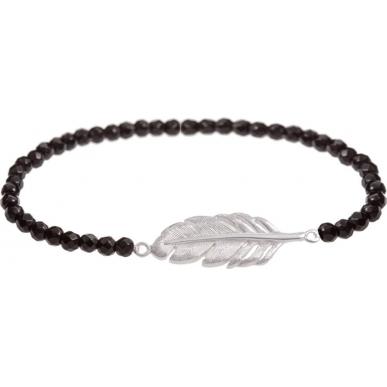 Angelsvoice Bracelet plume en argent avec pierres naturelles