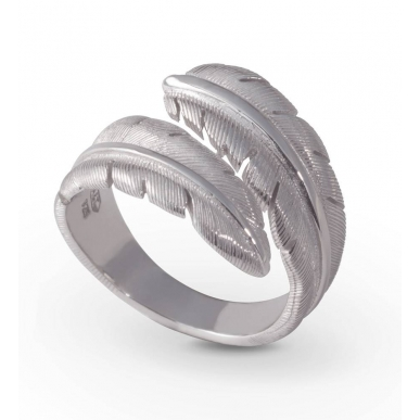 Angelsvoice Feather Silver Ring