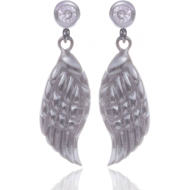 Angelsvoice Angel wings earings in silver with zirconias