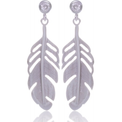 Angelsvoice Feathers earings in silver with zirconias