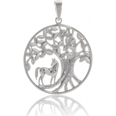 Pendentif cheval arbre de vie en argent