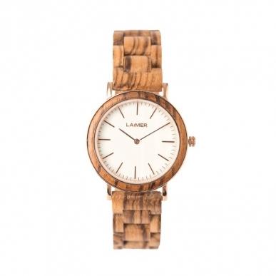 LAiMER Montre en bois Leona avec mouvement quartz