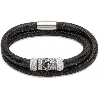 UNIQUE Bracelet en cuir noir avec acier
