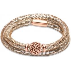UNIQUE Bracelet en cuir argenté avec acier doré rose