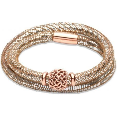 UNIQUE Silver leather bracelet with rose gold plated steel