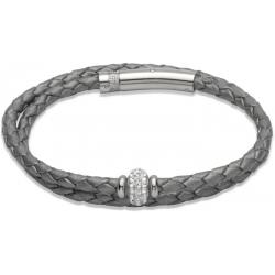 UNIQUE Grey plaited leather bracelet with steel
