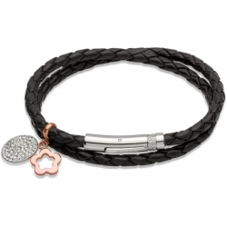 UNIQUE Black plaited leather bracelet with bicolored steel