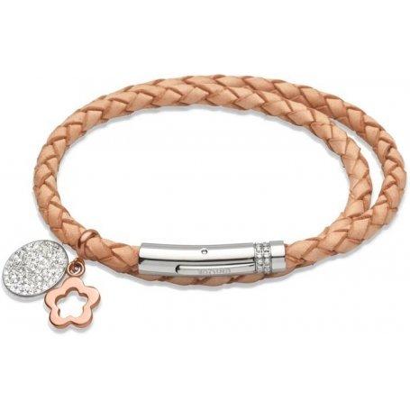 UNIQUE Bracelet en cuir tressé nature avec acier bicolore