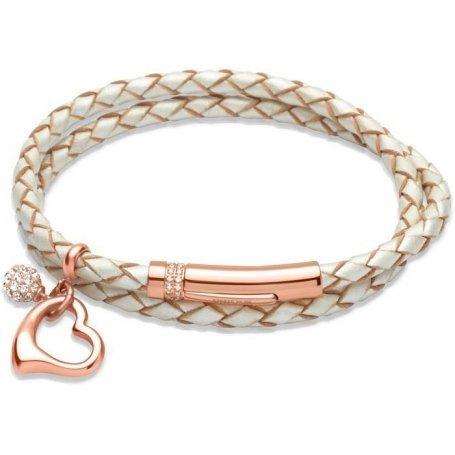 UNIQUE Bracelet en cuir tressé couleur nacre avec acier doré rose