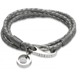 UNIQUE Grey plaited leather bracelet with steel
