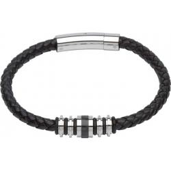 UNIQUE Black plaited leather bracelet with steel