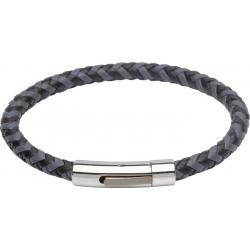 UNIQUE Bracelet en cuir tressé gris et noir avec acier