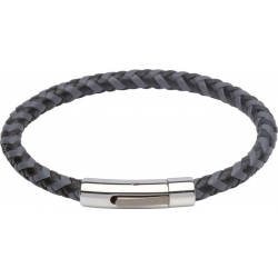 UNIQUE Grey and black plaited leather bracelet with steel